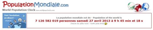 population mondiale 27-04-2013