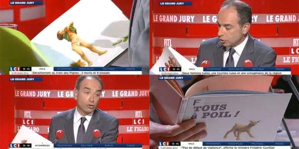 Quand-Jean-Francois-Cope-degaine-et-feuillette-le-livre-Tous-a-poil-sur-un-plateau-de-television